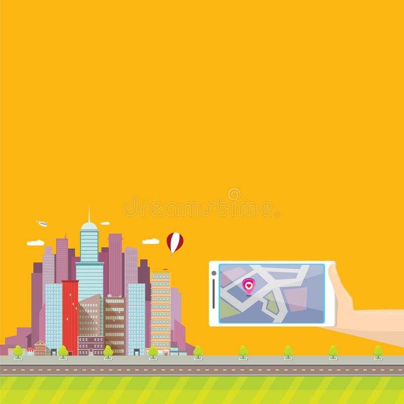 City internet navigation concept web banner. Panoramic flat city and navigation app on mobile screen. GPS navigation on mobile phone with pin and map. Panorama vector illustration