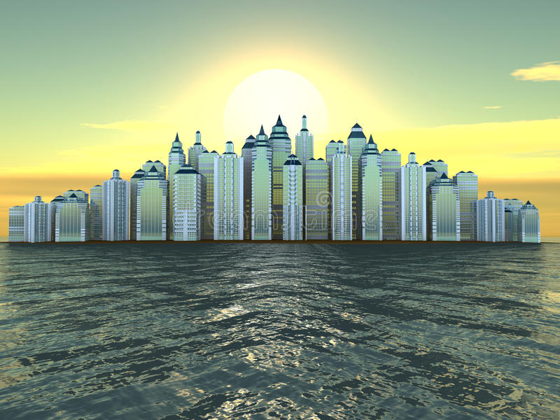 Download City On Island. Three-dimensional Background Stock Illustration - Illustration: 12671335