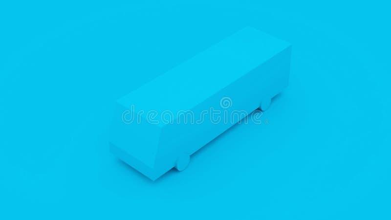 City Isometric Blue Bus. 3D Illustration.  stock illustration