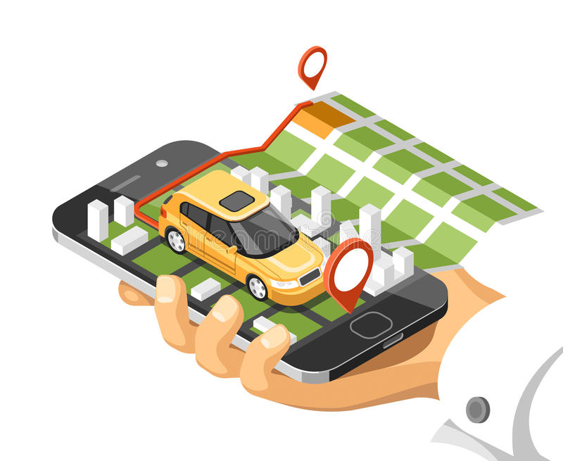 City isometric map with car and buildings on smart phone. Map on mobile navigate application. 3d vector illustration stock illustration