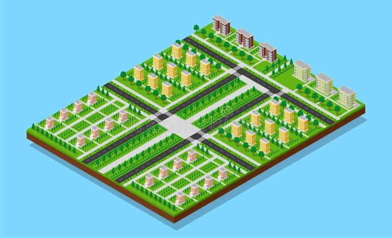 3D isometric city stock illustration