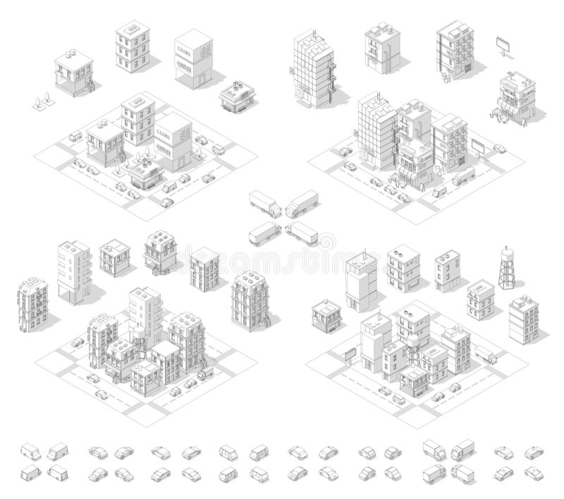 City isometric set. Cityscape infrastructure quarter. Town houses and streets with cars. Urban low poly. Gray lines outline royalty free stock image