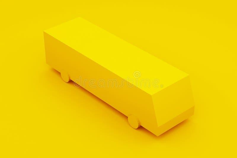 City Isometric Yellow Bus. 3D Illustration.  stock illustration