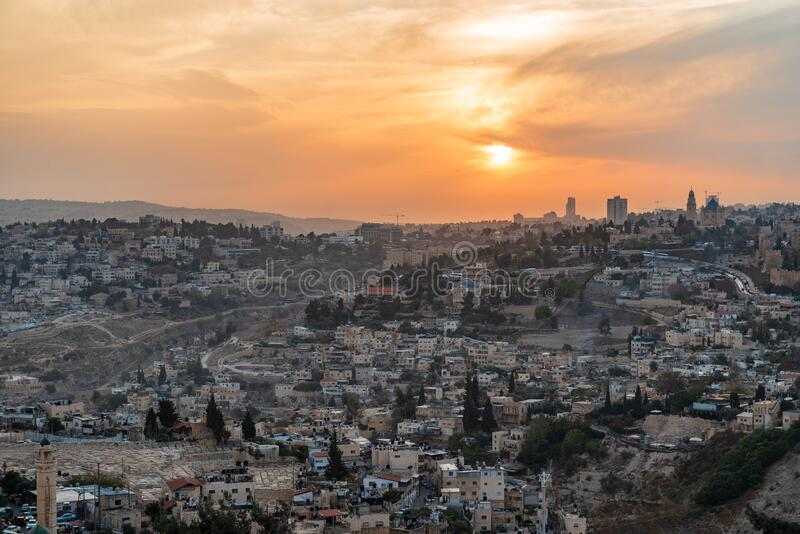 City of Jerusalem, Israel. Western Asia. Picture taken during sunset royalty free stock photos