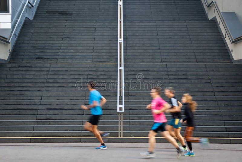City jogging stock image