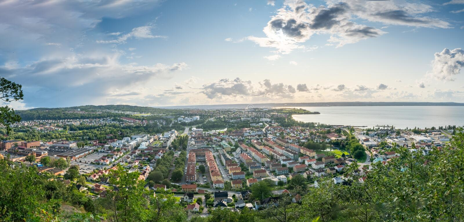 Huskvarna Sweden. The City of Jonkoping from Huskvarna  lookout in Sweden stock images