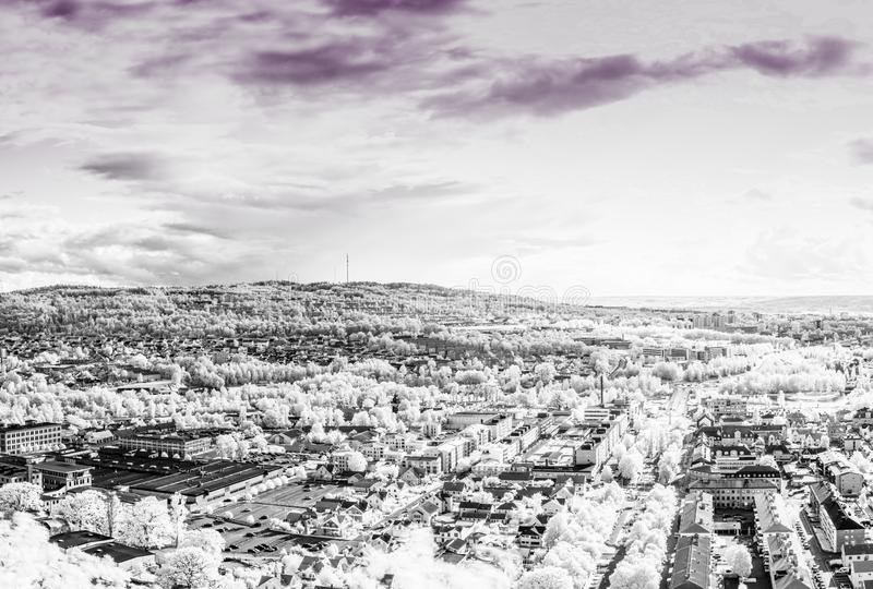 Huskvarna Sweden. The City of Jonkoping from Huskvarna  lookout in Sweden in infrared an ultraviolet royalty free stock photos