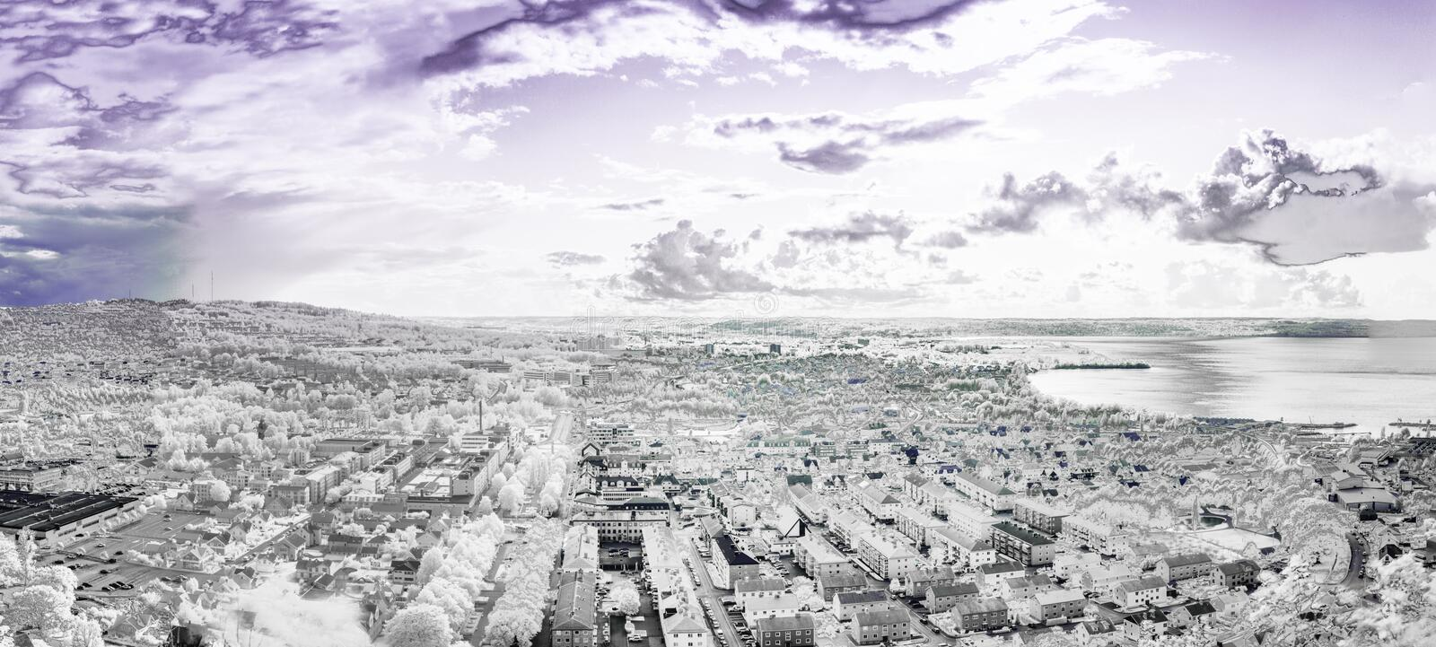 Huskvarna Sweden. The City of Jonkoping from Huskvarna  lookout in Sweden in infrared an ultraviolet royalty free stock images