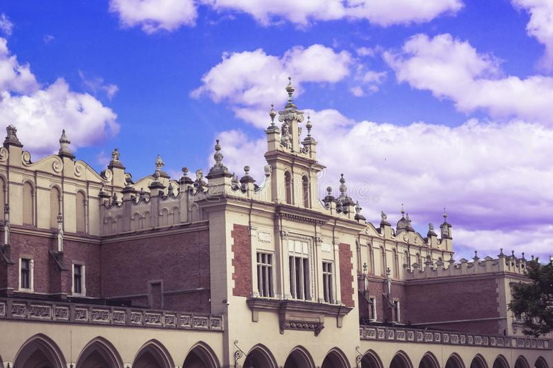 City of Krakow in Poland, Main Square in the Old Town with the arcade of the Coth Hall Sukiennice royalty free stock image