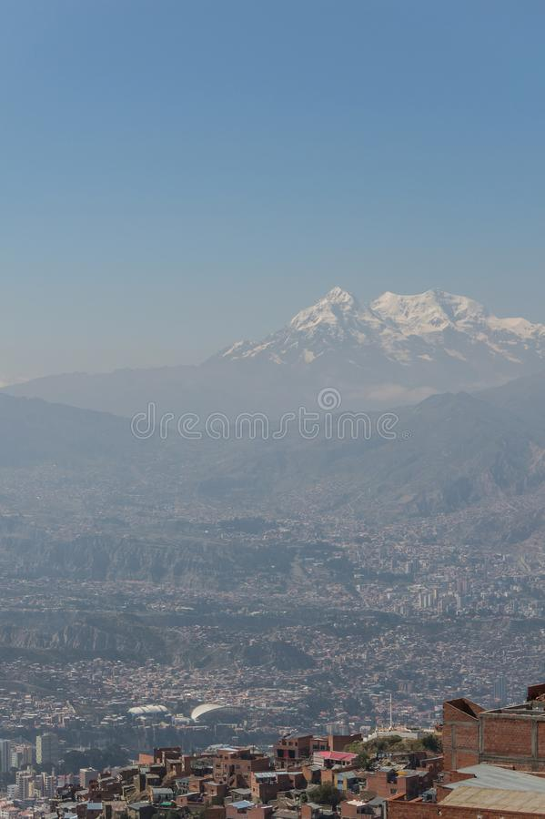 The City Of La Paz High In The Andes Mountains In Bolivia Stock Photo Image Of Bolivian Illimani 112134848