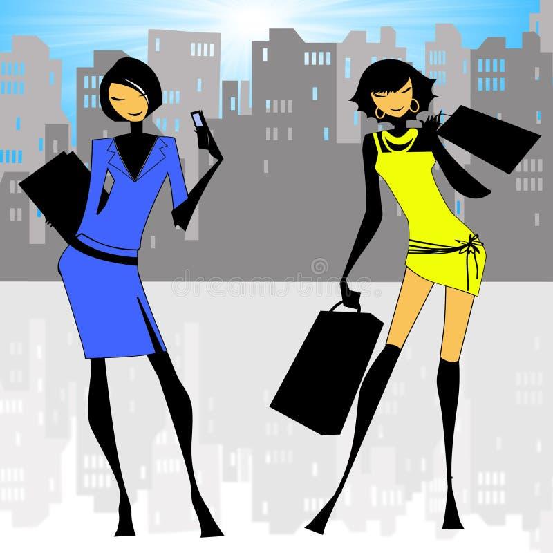 City Ladies. Illustration showing stylish city ladies vector illustration