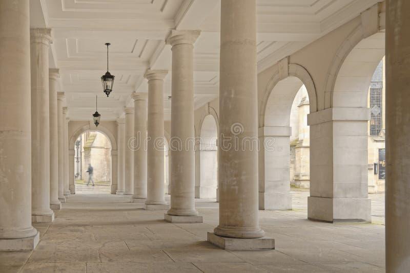 Temple, london, england: colonnade pillars stock photo