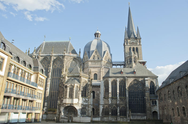 City Landmark Of Aachen Cathedral In Germany. Royalty Free Stock Images