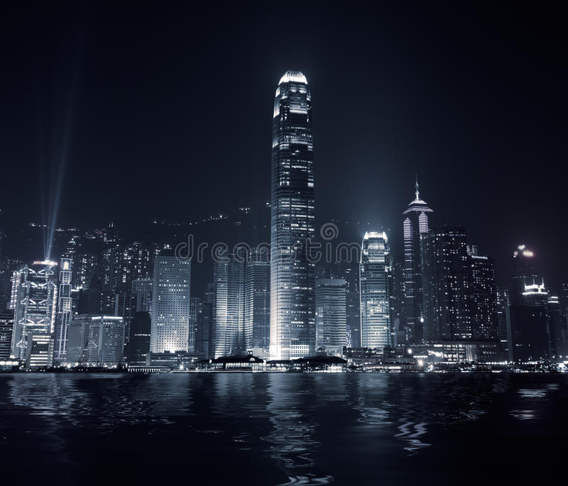 City landmark of Hong Kong. Landmark of Hong Kong with famous skyscraper and modern building in the evening stock image
