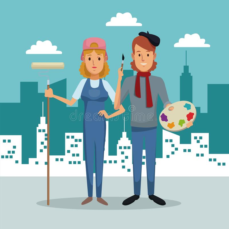 City landscape background with full body couple woman painter and male artist stock illustration