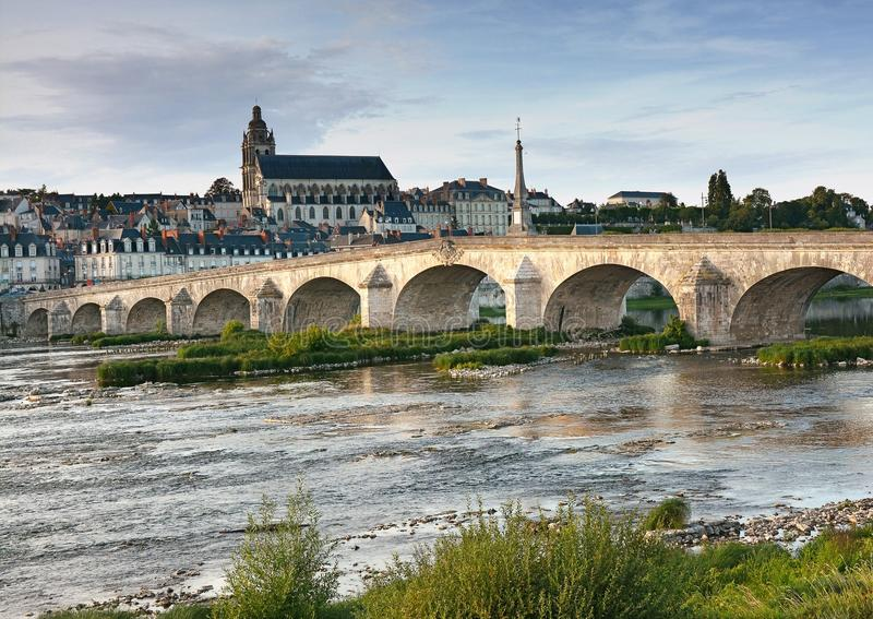 City landscape on the bridge over the river and old Blois royalty free stock images