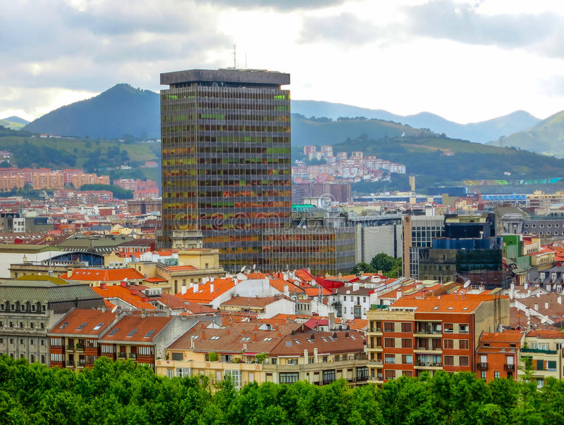 City landscape, business and historic districts, Bilbao, Spain. stock image