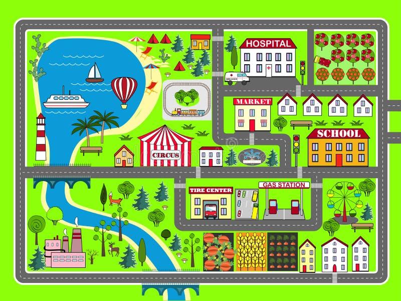 City Landscape Car Track Kids Play Mat Stock Illustration