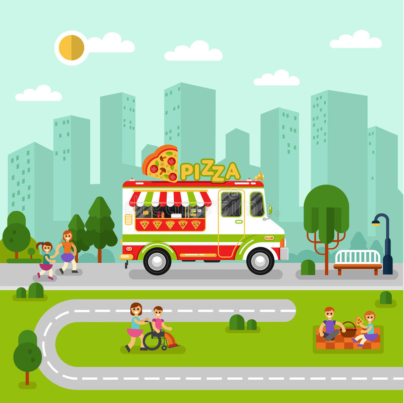 City landscape with cartoon pizza van. Flat design vector illustration of City landscape with cartoon fast food van. Mobile retro shop truck icon with signboard stock illustration