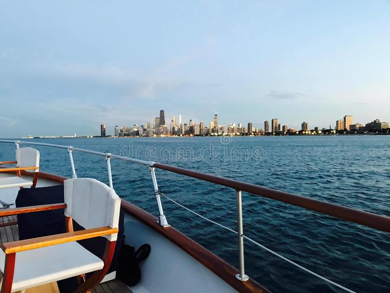 City Landscape. City of Chicago taken from afar in a boat stock images