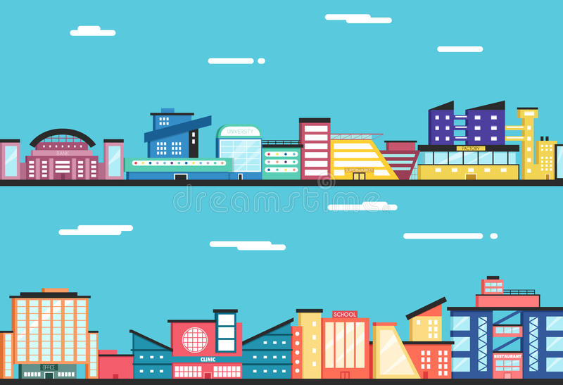 City landscape. Clouds in the sky. Flat vector illustration. stock illustration