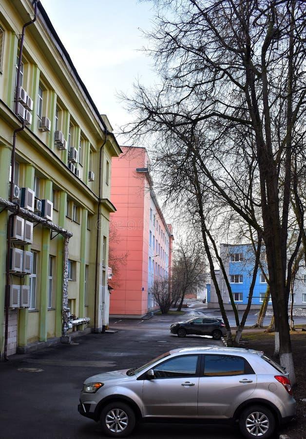 City landscape colorful building's street stock photos