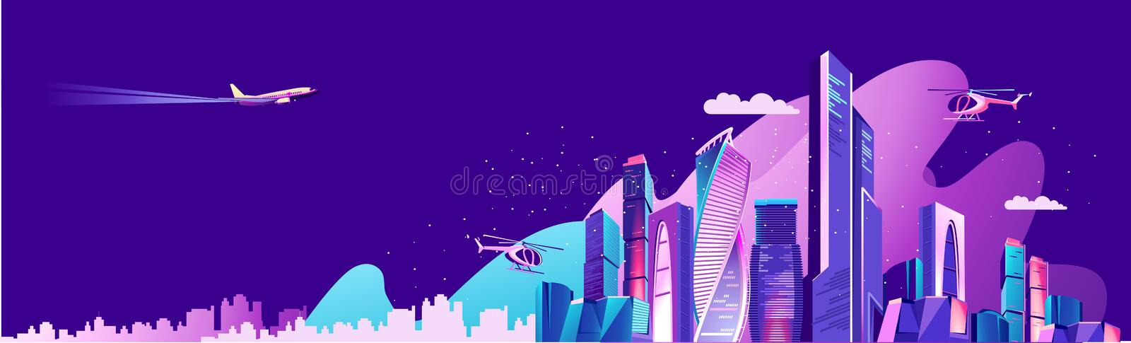 City landscape concept. Landing page for a website about city life, social communication, concept, cityscape of a business center Vector horizontal illustration royalty free illustration