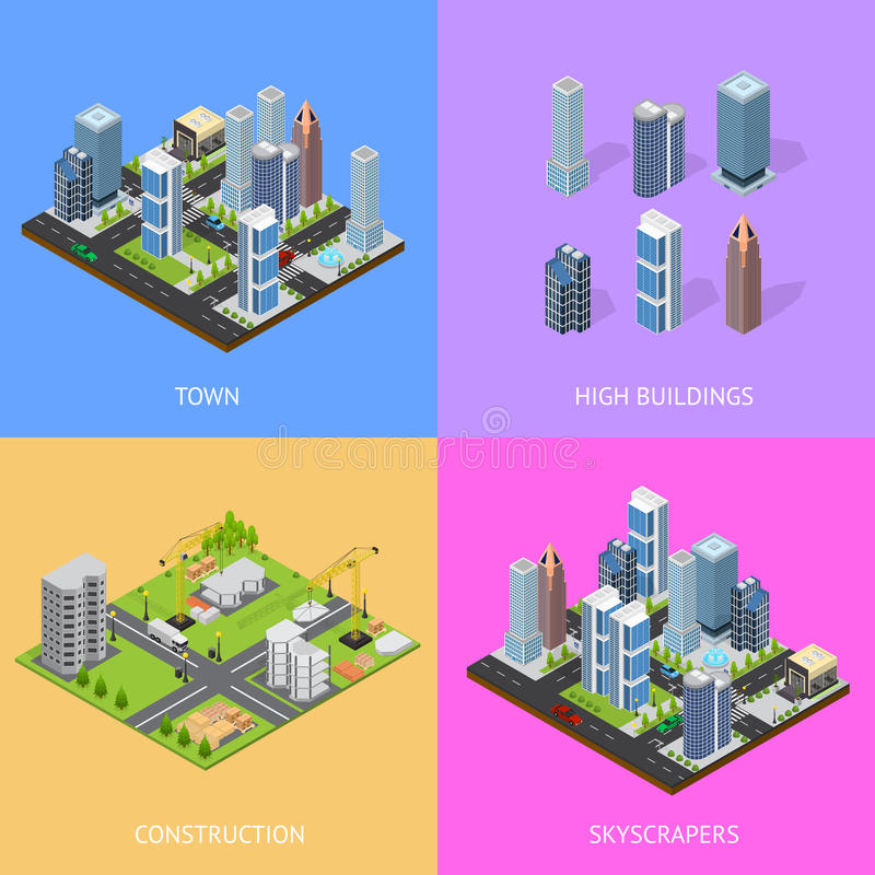 City Landscape Construction Building Poster Card Set Isometric View. Vector stock illustration