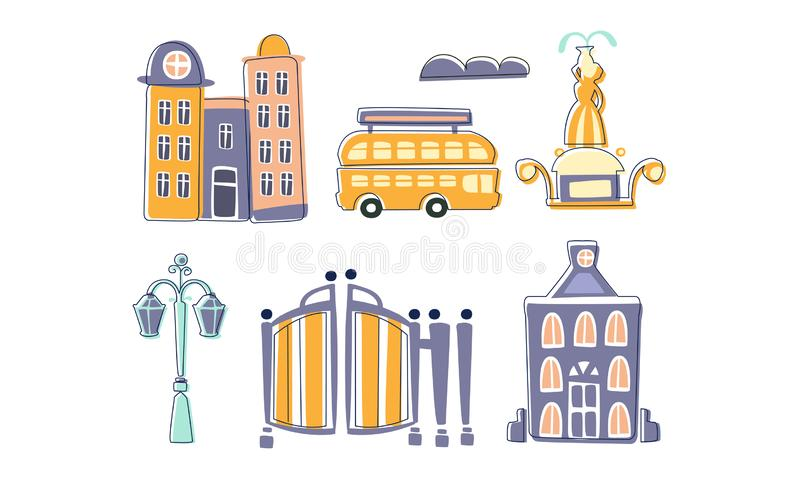 City Landscape Elements Set, Town Residential Houses, Fountain, Lantern, Bus Hand Drawn Vector Illustration royalty free illustration