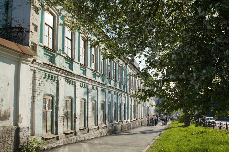 City landscape: 60 Kuybyshev Street, the pavement, an apple tree blooms on a sunny day. stock photos