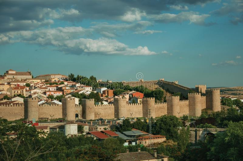 City landscape with large stone wall and towers at Avila royalty free stock photography