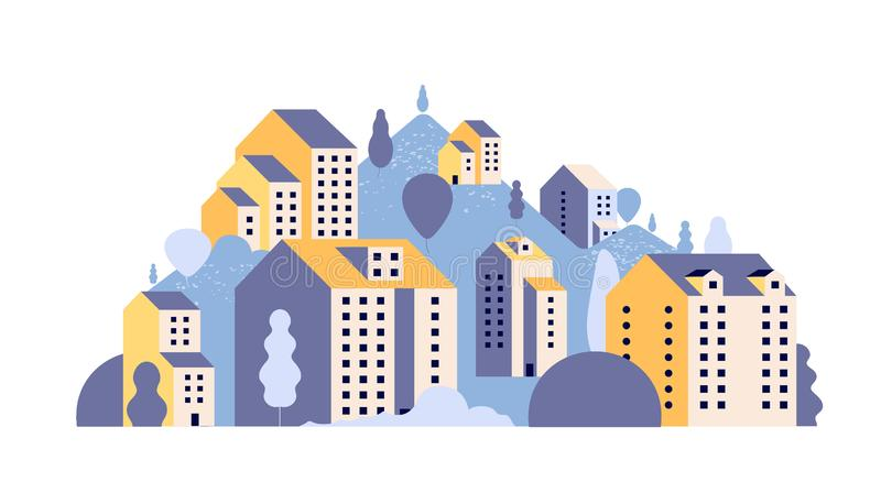 City landscape. Minimal residential houses in summer mountain landscape. Outdoor 2d urban scene with buildings vector stock illustration