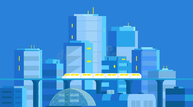 City landscape. Modern architecture, buildings, skyscrapers. Train crossing the light rail subway railway. Evening or. Night. Flat vector illustration. Blue vector illustration
