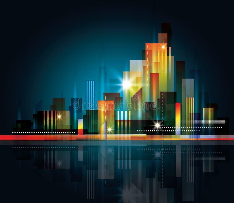 City Landscape at night stock illustration