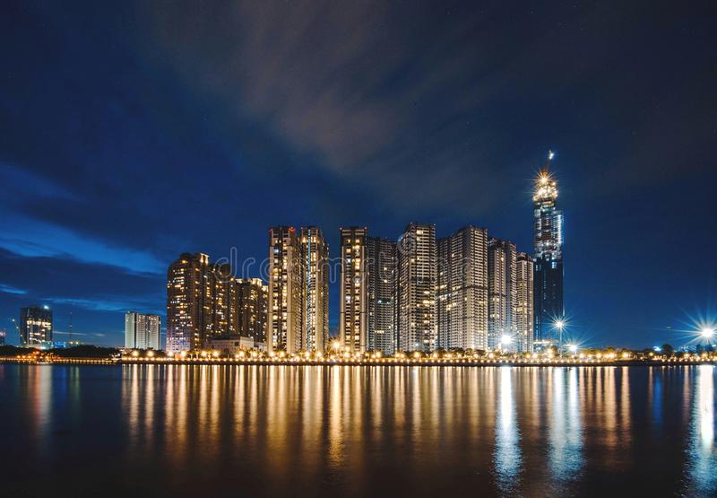 City Landscape during Night Time royalty free stock photography
