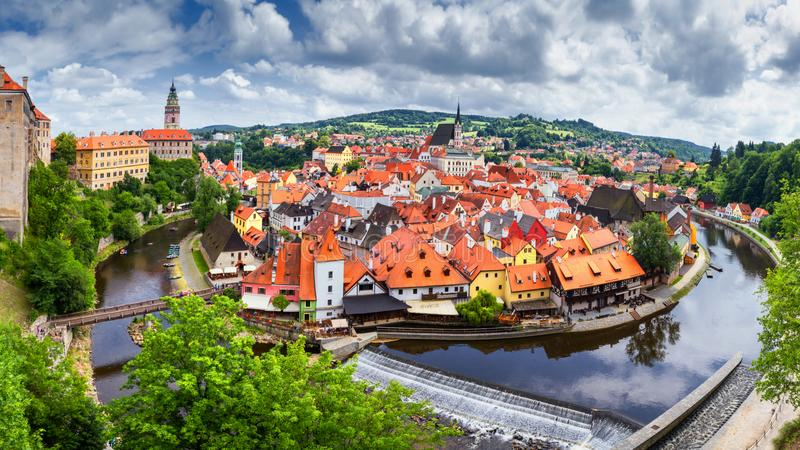 City landscape, panorama, banner - view over the historical part Cesky Krumlov with Vltava river in summer time stock image