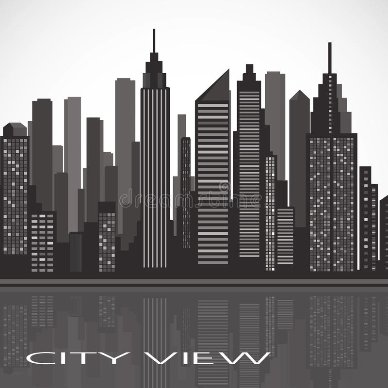 City landscape. panorama of the evening megalopolis royalty free illustration