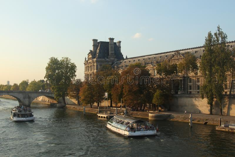 City landscape Paris la seine France bridge river stock photography