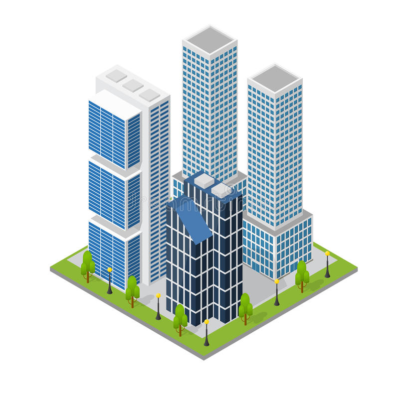 City Landscape Quarter and Skyscraper Building Isometric View. Vector. City Landscape Quarter and Skyscraper Building Isometric View Part of the Map with vector illustration