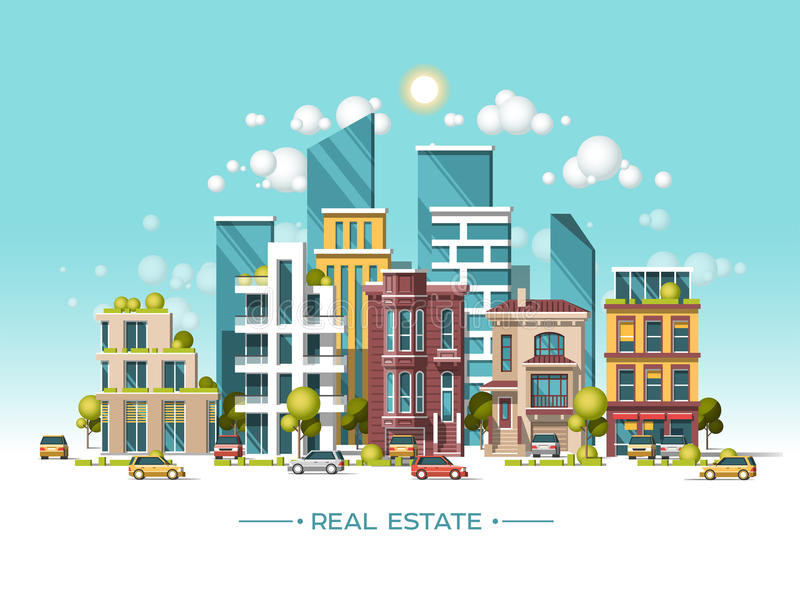 City landscape. Real estate and construction business concept. Flat vector illustration. 3d style. City landscape. Real estate and construction business concept royalty free illustration