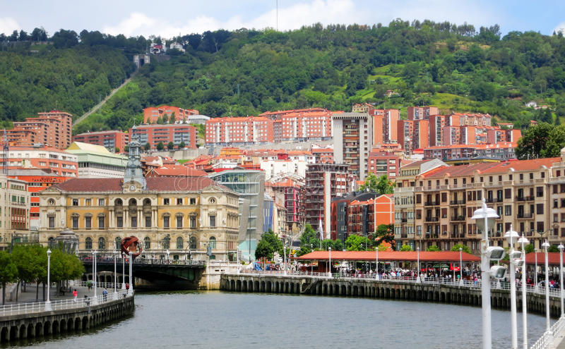 City landscape with River and Bridge, Bilbao, Spain. royalty free stock photo