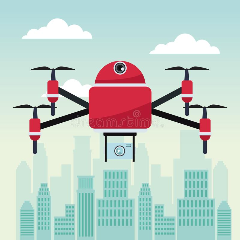 City landscape scene with drone with four airscrew flying and camera. Vector illustration stock illustration