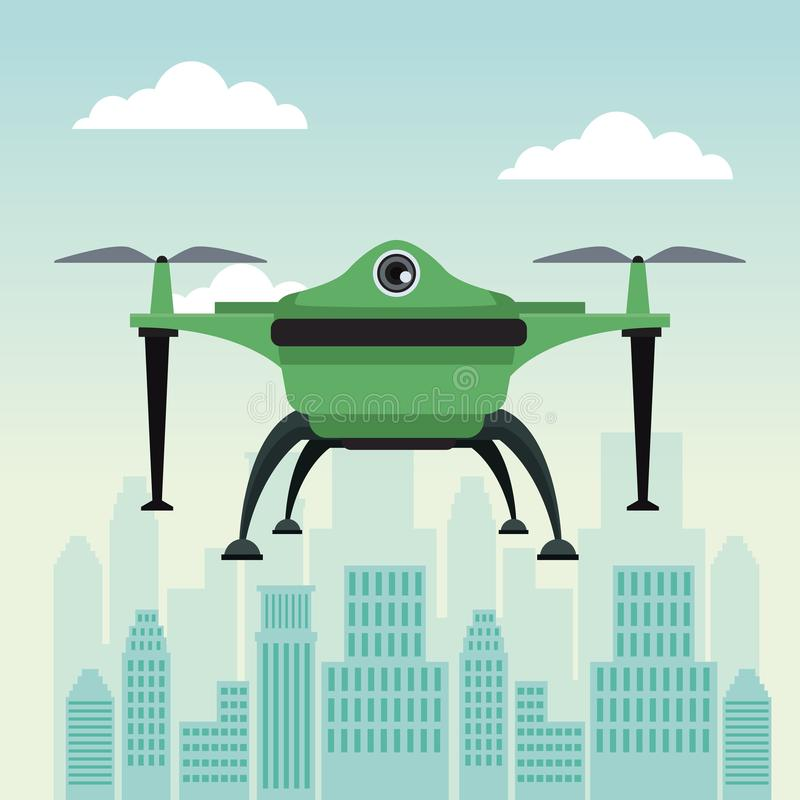 City landscape scene with drone with two airscrew flying and base. Vector illustration vector illustration