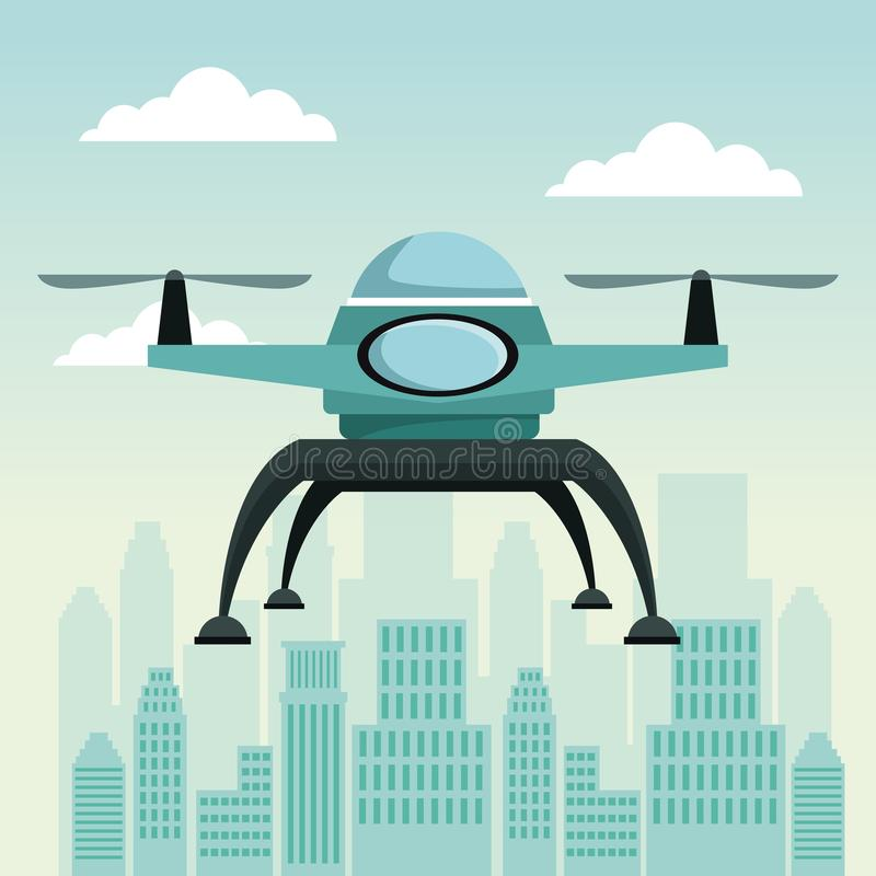 City landscape scene with drone with two airscrew flying. Vector illustration royalty free illustration