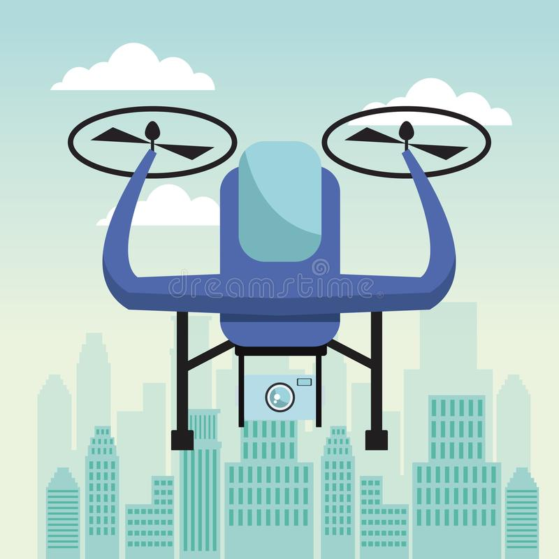 City landscape scene with drone with two airscrew flying and device camera. Vector illustration vector illustration