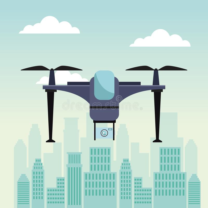 City landscape scene with modern drone with two airscrew flying with base and device camera. Vector illustration royalty free illustration
