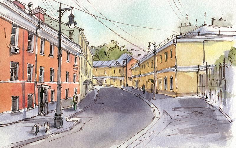 City landscape.  Sketch ink and watercolor. Hand-drawn illustration stock illustration