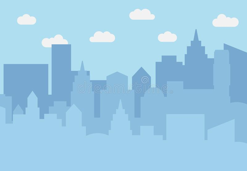 City landscape with skyscrapers in the daytime. Vector illustration stock illustration