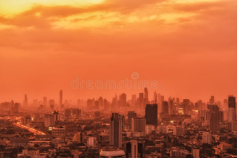 City landscape with skyscrapers stock photo