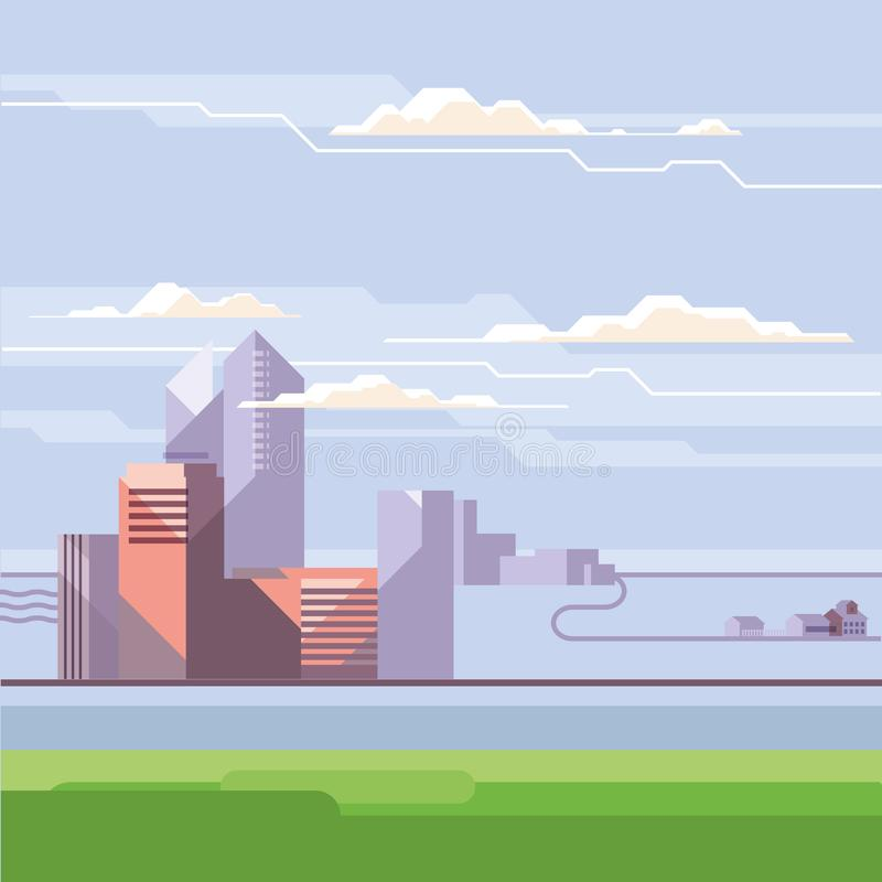 City landscape template. Downtown landscape with high skyscrapers. Panorama architecture, village, gorizont and blue sky, clouds. Urban life vector illustration